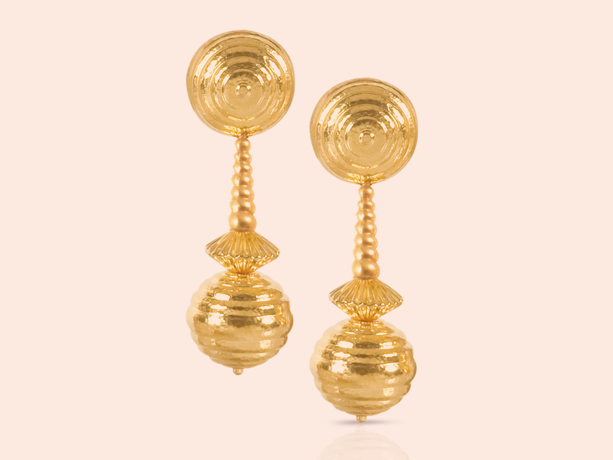 22k gold earrings from the Lalaounis Neolithic collection