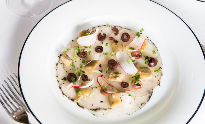 Carpaccio di pesce spada, Swordish carpaccio with aubergine, radish, black olives and white balsamic vinegar
