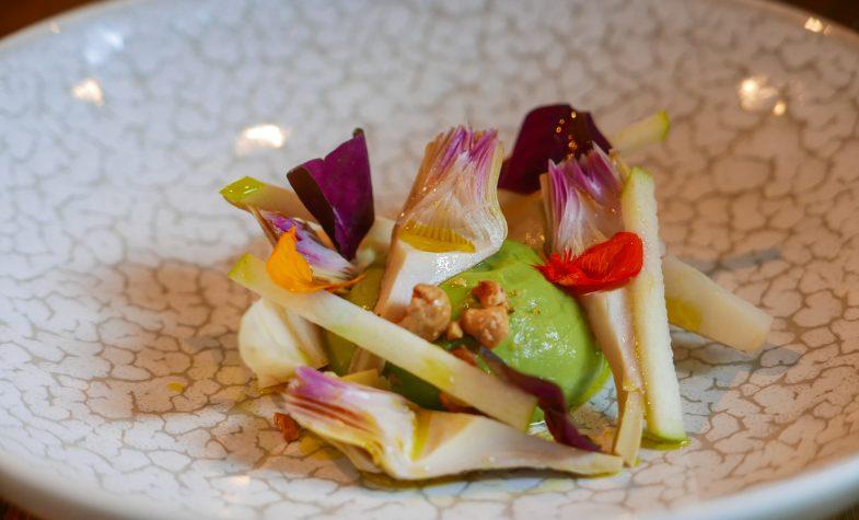 Spanish avocado, artichoke and hazelnut salad at 5 Social