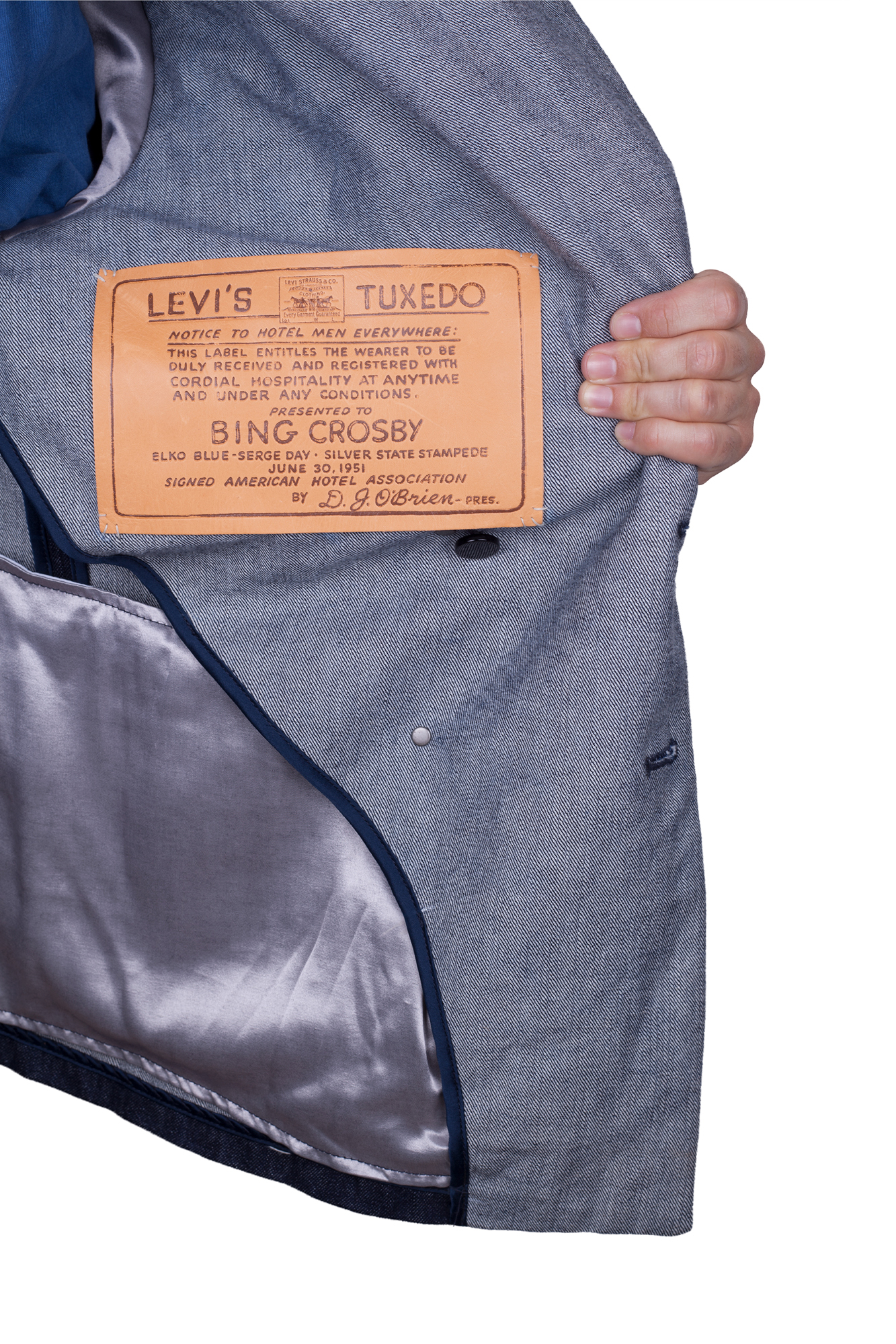 The leather label that entitled Bing Crosby to enter any hotels, inside his Levi's denim jacket