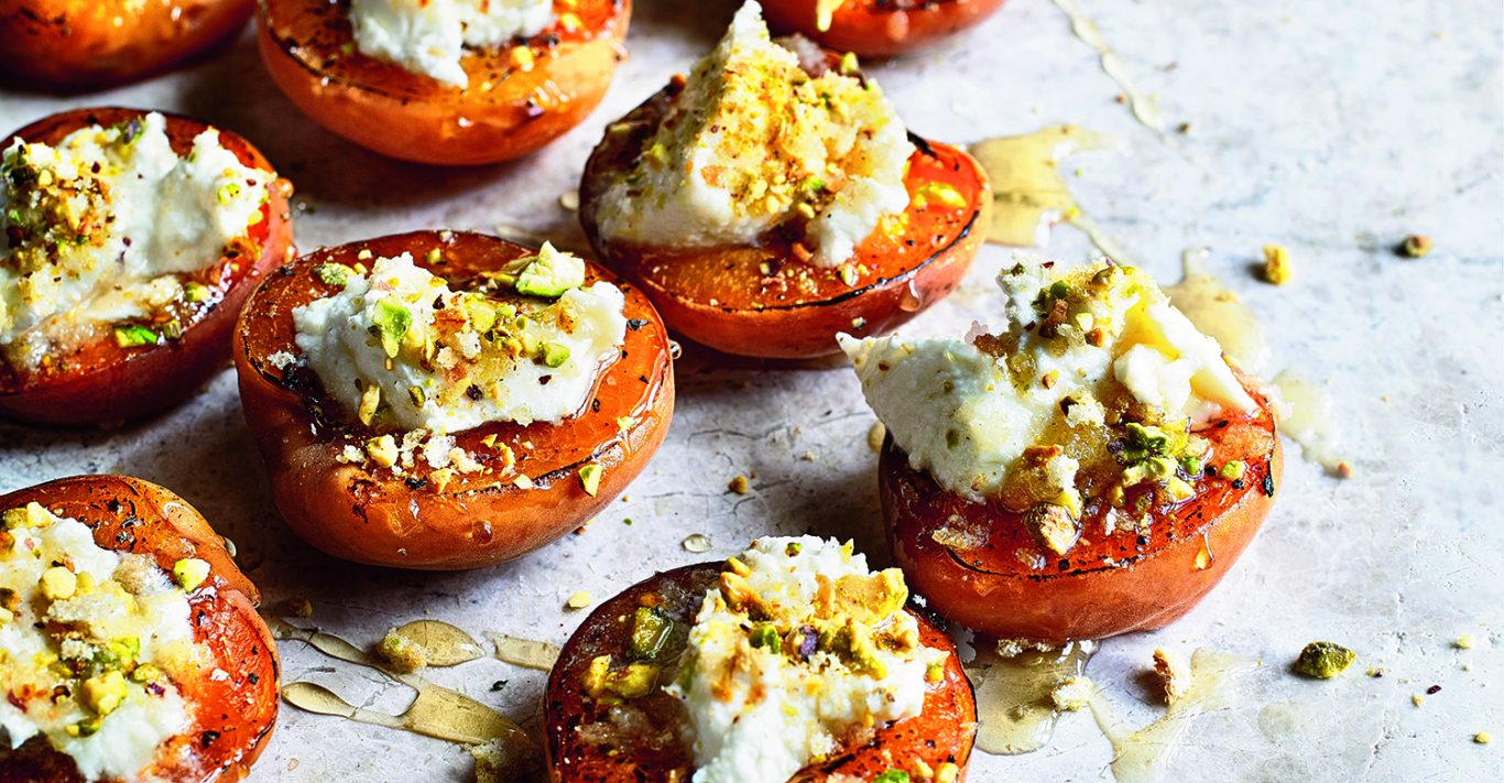Roasted apricots with ricotta from Feasts by Sabrina Ghayour. Photography: Kirk Kirkham