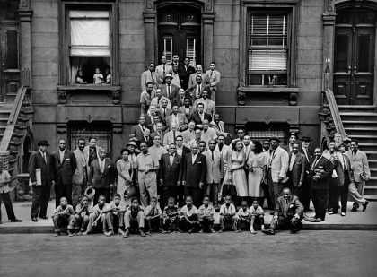 Iconic group shot of the time's greatest jazz musicians, taken . by Art Kane
