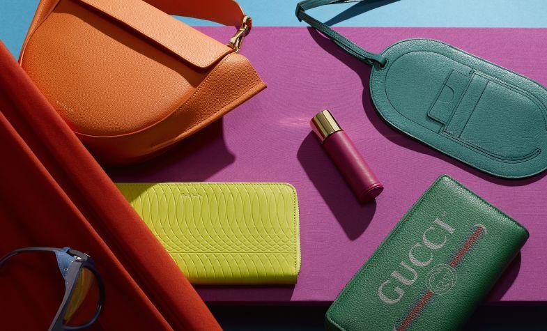 Clockwise from top left: Bag, £565, WANDLER; phone case, £940, HERMÈS; wallet, £585, GUCCI; travel case, £95, MAISON FRANCIS KURKDJIAN; purse, £250, PAUL SMITH; sunglasses, £390, MONCLER