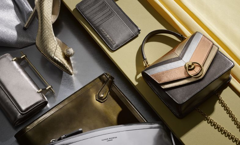 Clockwise from top left: Sadira 100 shoe, £850, JIMMY CHOO; card holder, £115, EMPORIO ARMANI; small satchel, £650, MULBERRY; brass folio, £775, and chrome folio, both DUNHILL; mini bag, £960, M2MALLETIER