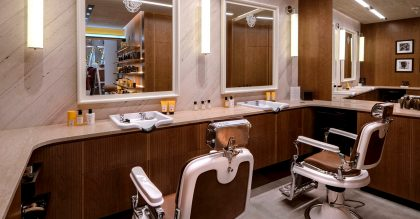 Acqua di Parma's barbiere in the Designer Street Room at Selfridges