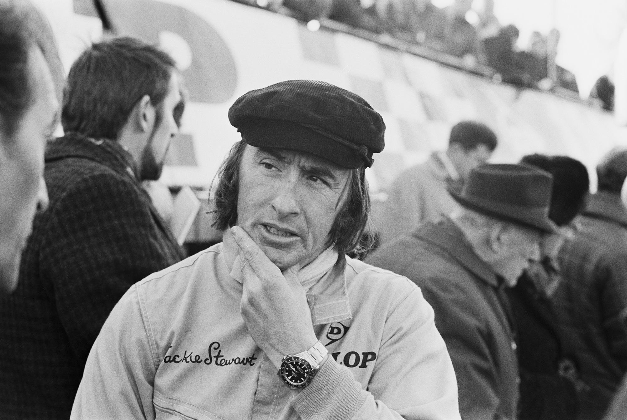 Racing legend Sir Jackie Stewart in the UK, 6 March 1970
