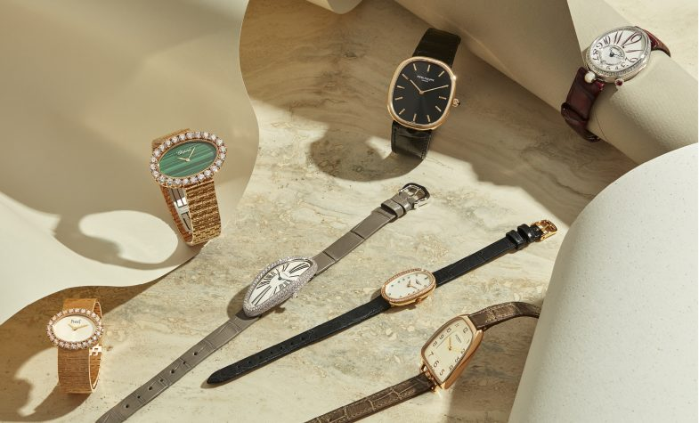 Clockwise, from left: Extremely Lady watch in rose gold with diamonds, £49,080, PIAGET; Oval watch from the L'Heure du Diamant collection, POA, CHOPARD; Golden Ellipse in rose gold, £24,480, PATEK PHILIPPE; Reine de Naples in white gold, £28,400, BREGUET; Galop d'Hermès in rose gold, £7,300, HERMÈS; Symphonette, £3,460, LONGINES; Baignoire Allongée, £35,500, CARTIER
