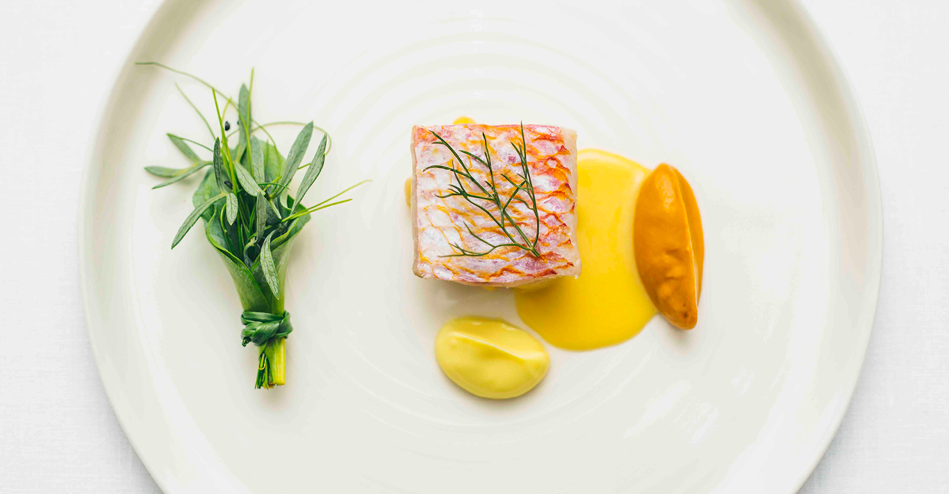 Red Mullet, Coco De Paimpol beans, Aubergine, Pineapple Weed reduced at Xier