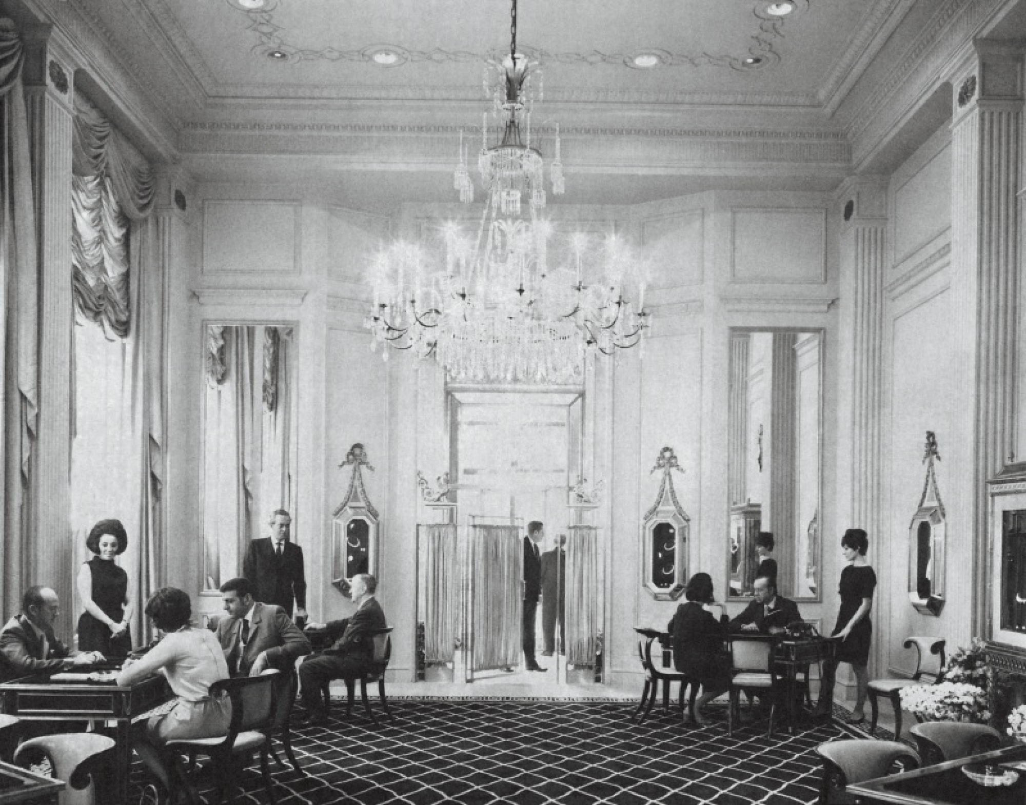 The majestic chandelier in the Harry Winston salon on First Avenue was an inspiration