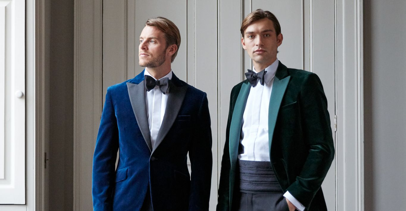 Favourbrook's Velvet Dinner Jacket in Marine (left) and Racing Green (right) is a contemporary alternative to the traditional black dinner jacket.