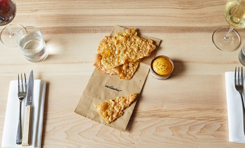 Seeded cracker, pease pudding