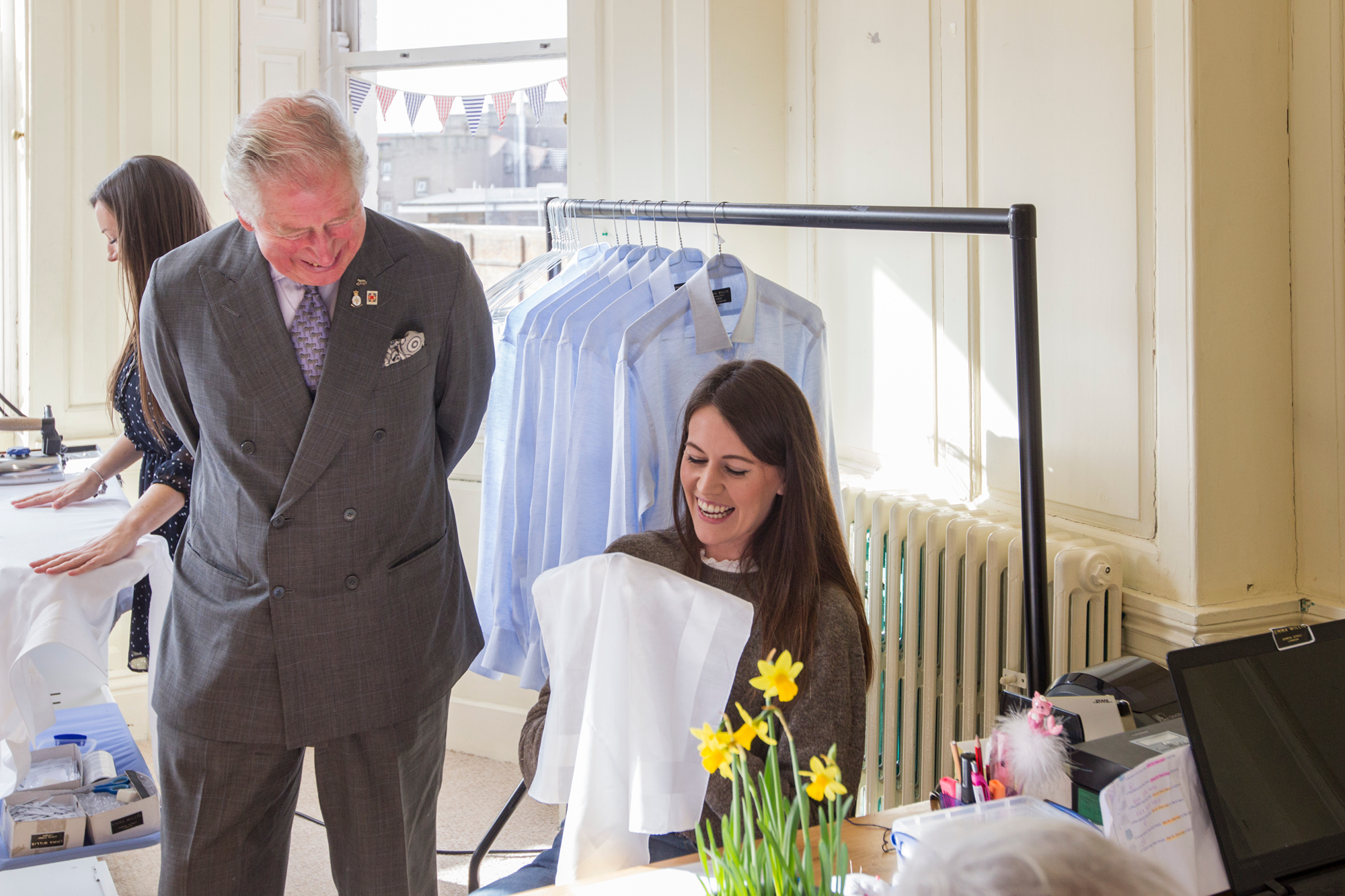 HRH Prince Charles visiting Emma Willis's factory