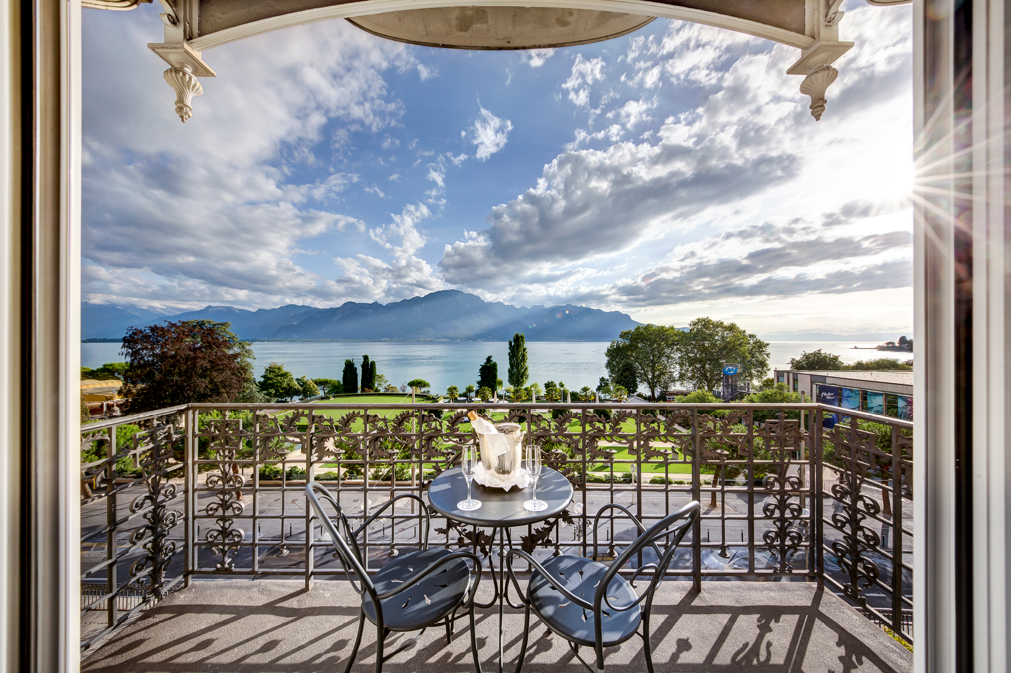 The view across Lake Geneva from Hotel Fairmont Le Montreux Palace