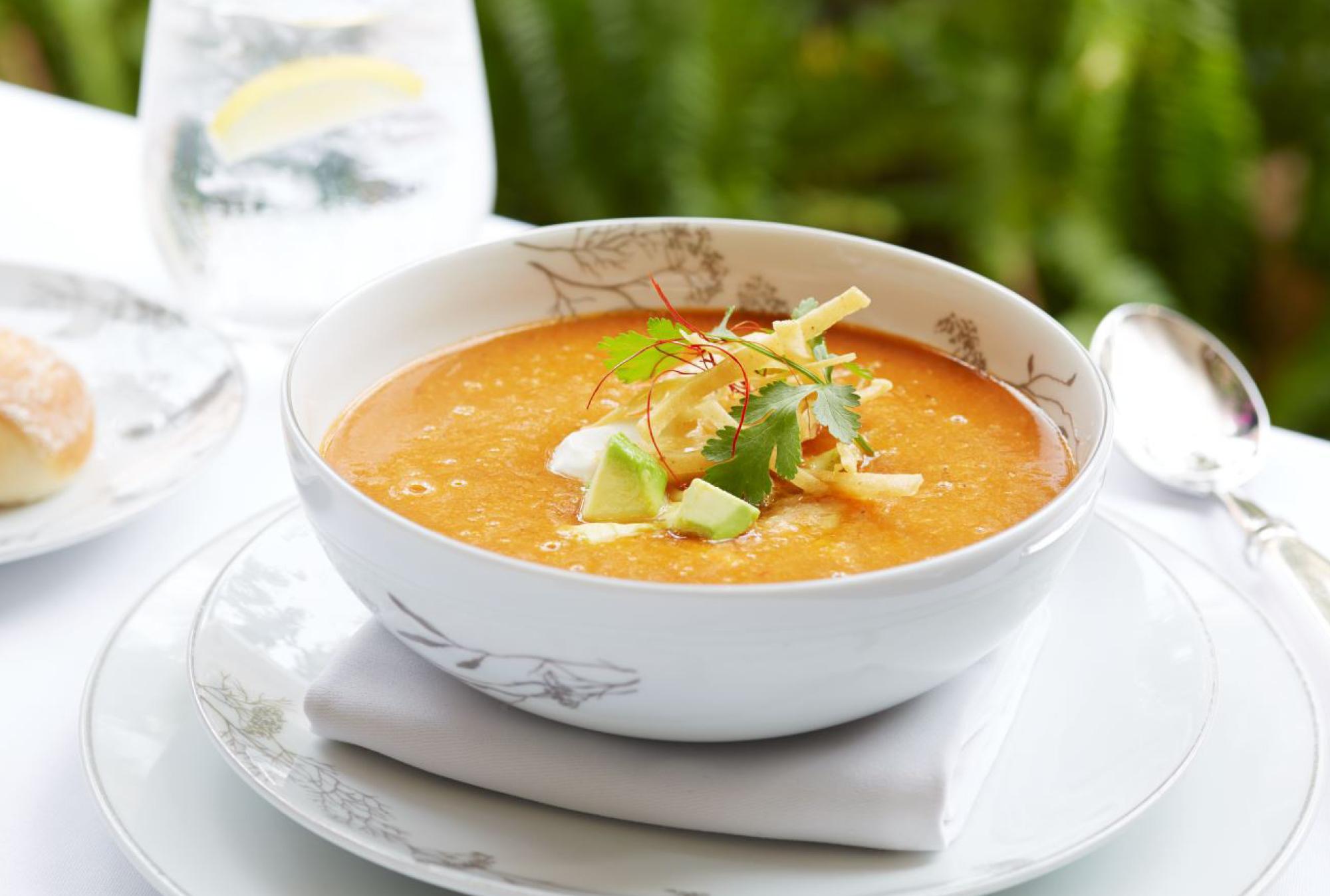 Tortilla soup from Wolfgang Puck at Hotel Bel-Air