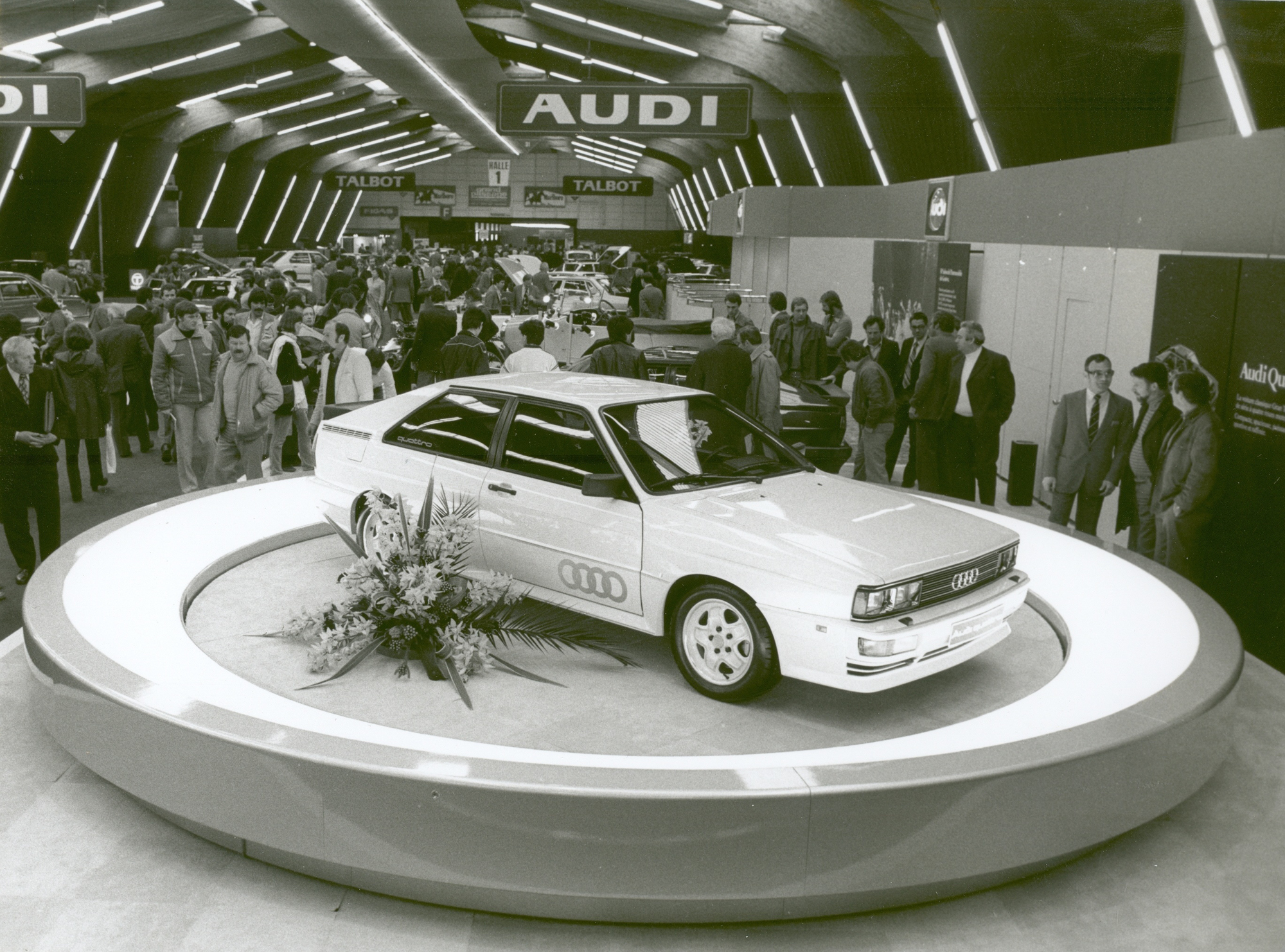 The first four-wheel-drive Audi Quattro in 1980