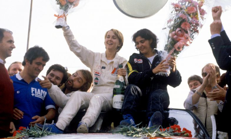 Rally drivers Fabrizia Pons and Michèle Mouton at Rallye Sanremo in 1981