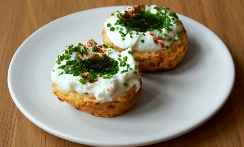 Bacon Scones with goats curd and chives