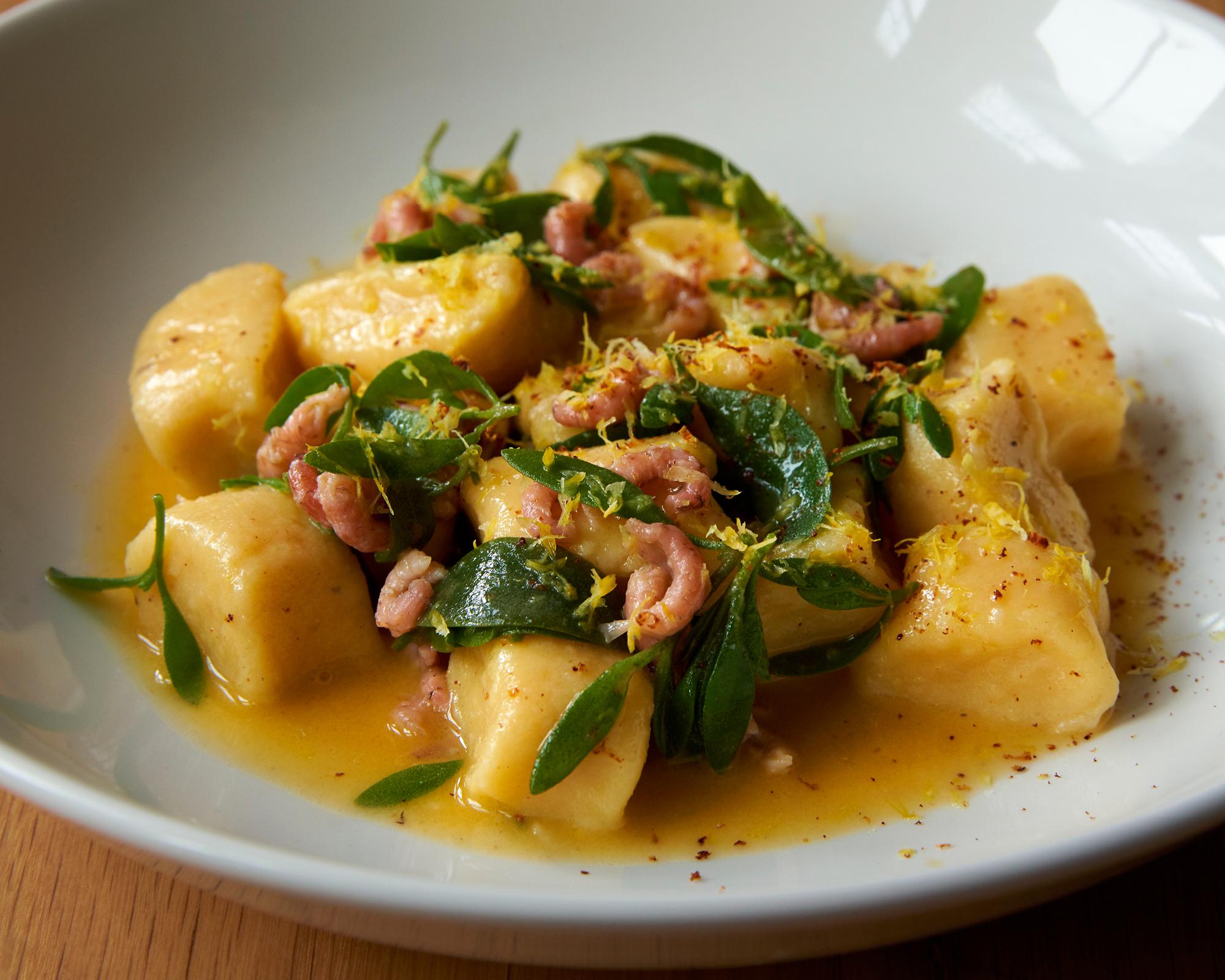 Potato dumplings, potted brown shrimp and sea purslane