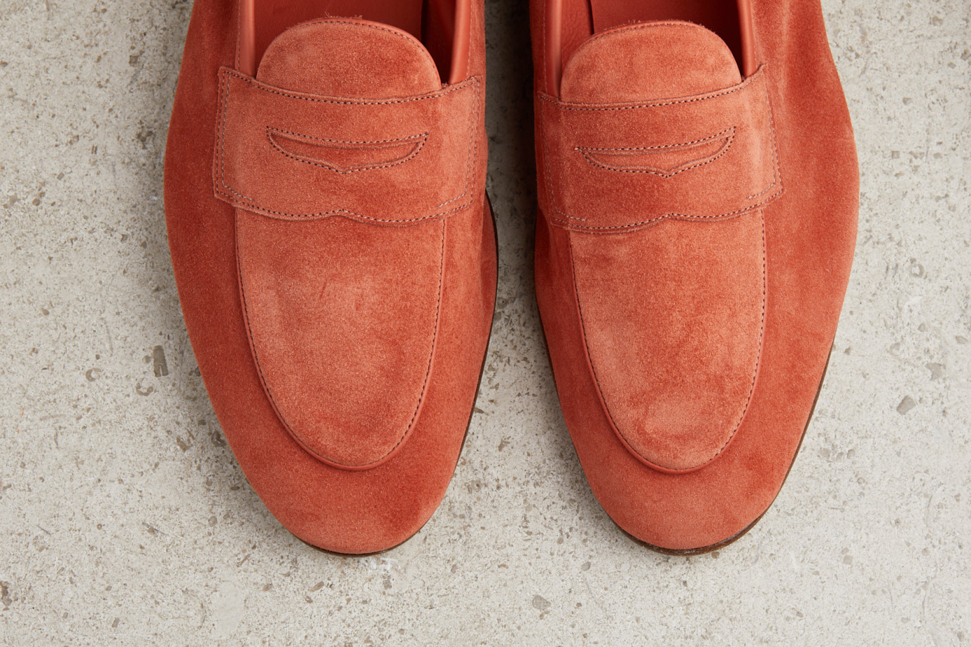 Edward Green Polperro loafer in coral baby calf suede with leather soles