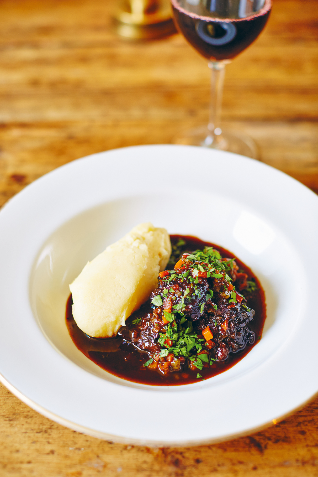 Braised ox cheek with horseradish mash from The Fortnum's Cook Book