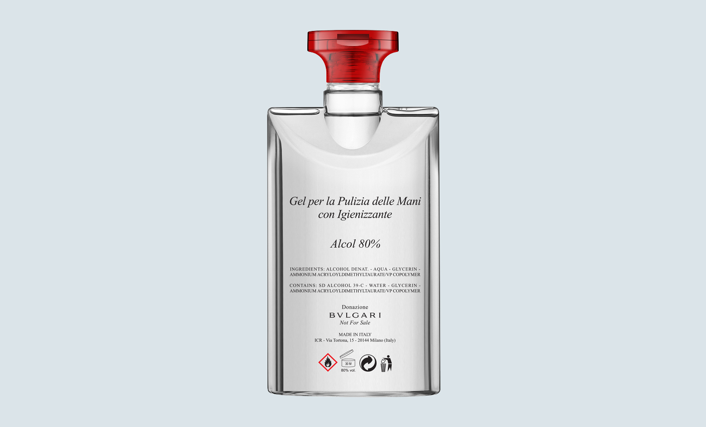 Bulgari is donating thousands of bottles of hydroalcoholic sanitising gel