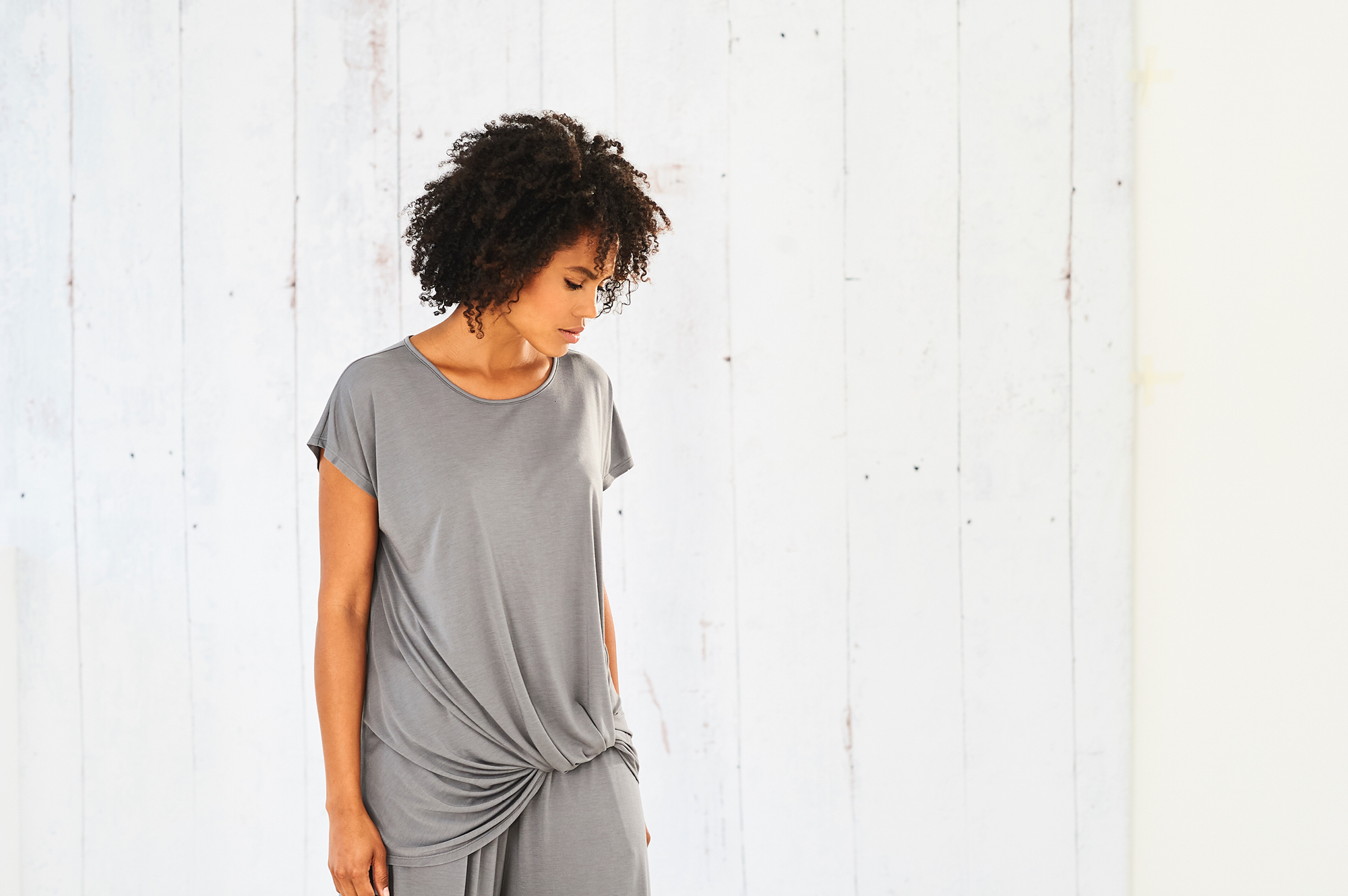 The Drape Knot tee is one of Cucumber-founder Eileen Willett's go-to working from home pieces