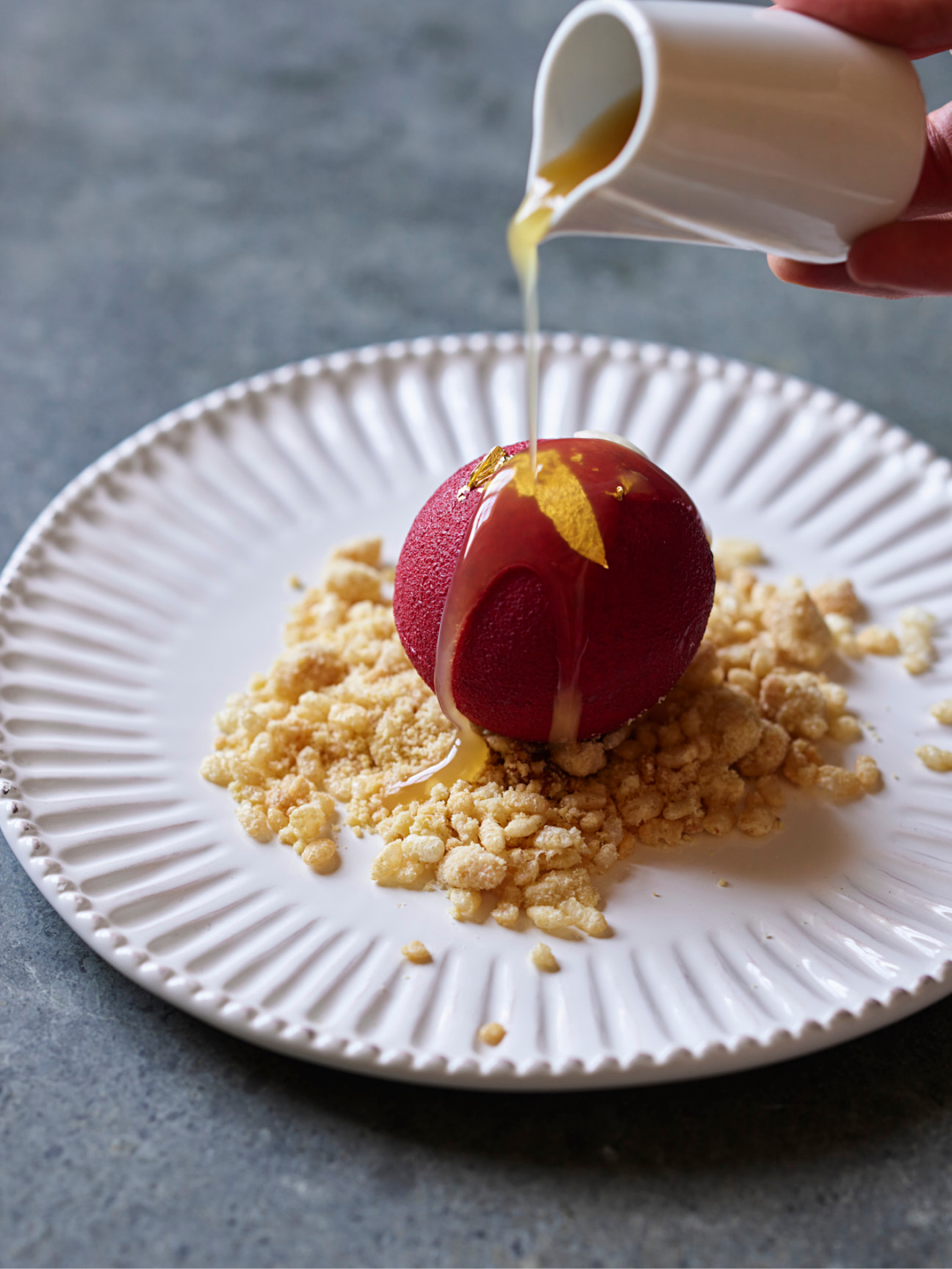 Ormer Mayfair's signature apple crumble