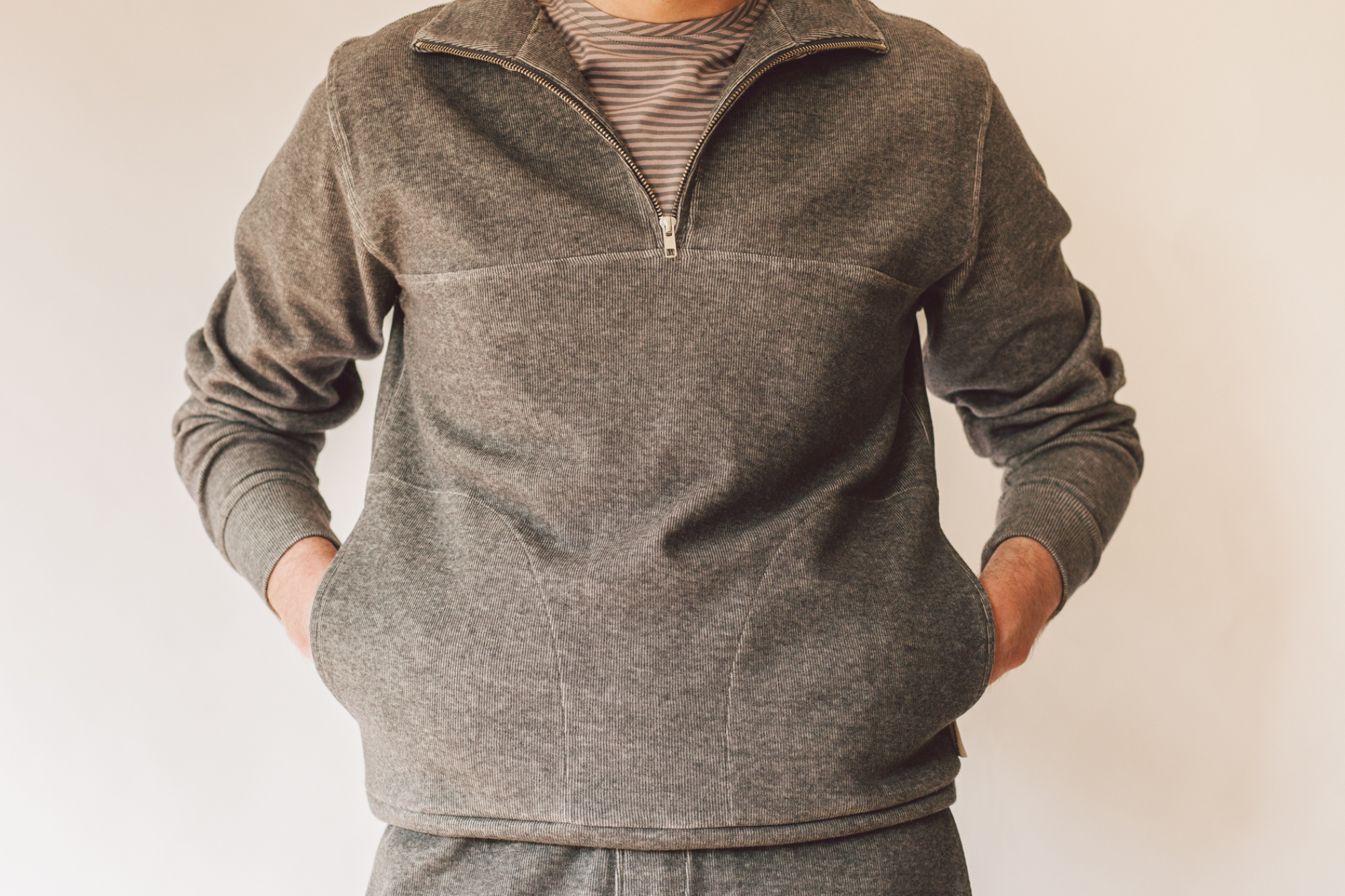 Oliver Spencer Half Zip Sweat Milner in grey