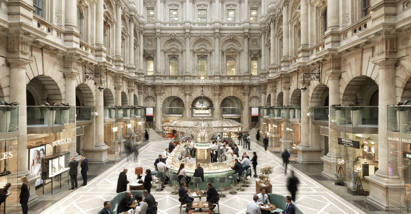 The spectacular Central Courtyard of The Royal Exchange