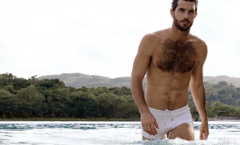 Thunderball Bassett white classic swimming trunks