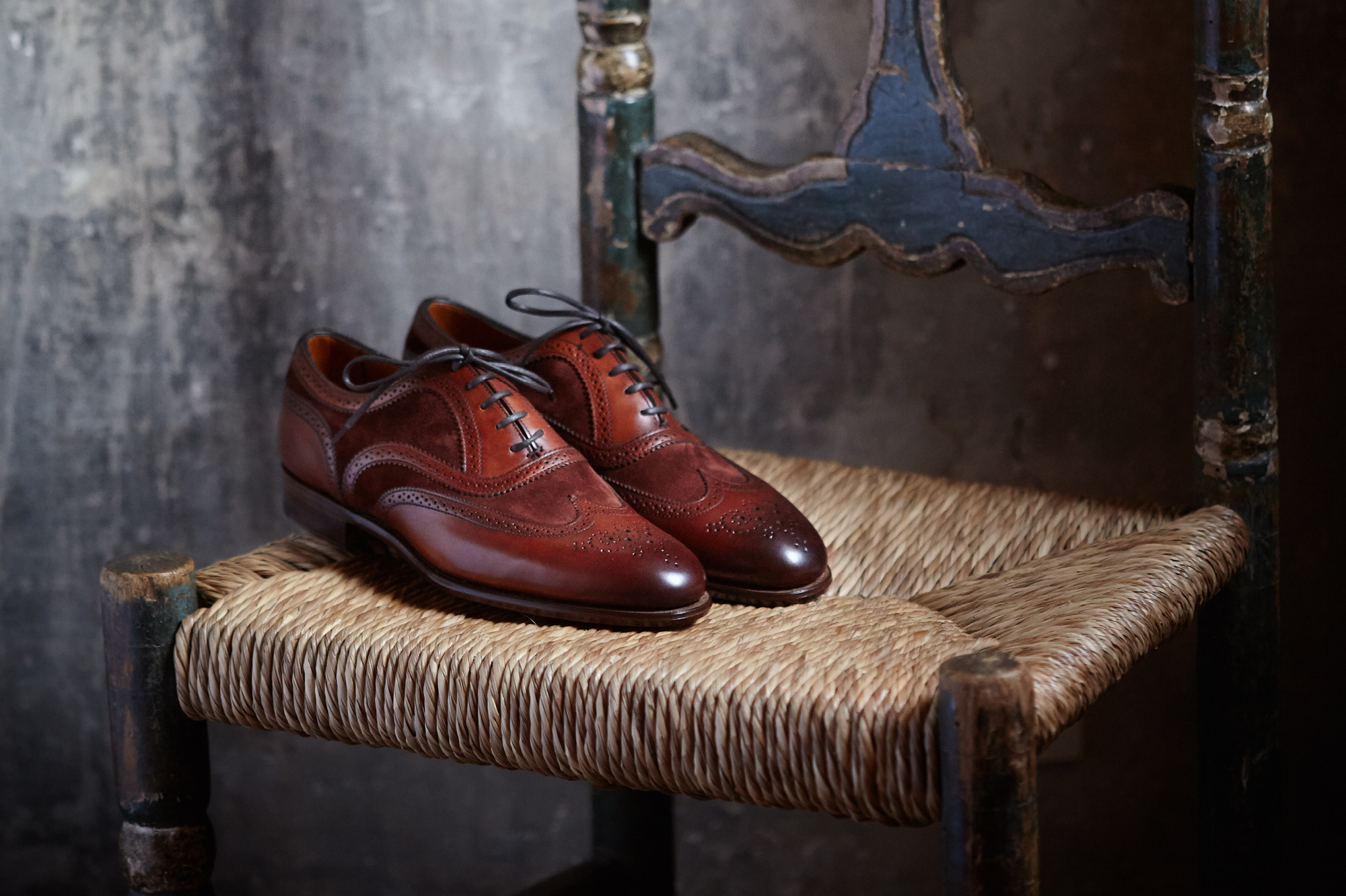 Edward Green made-to-order Ladies Malvern shoes in redwood leather and clove suede