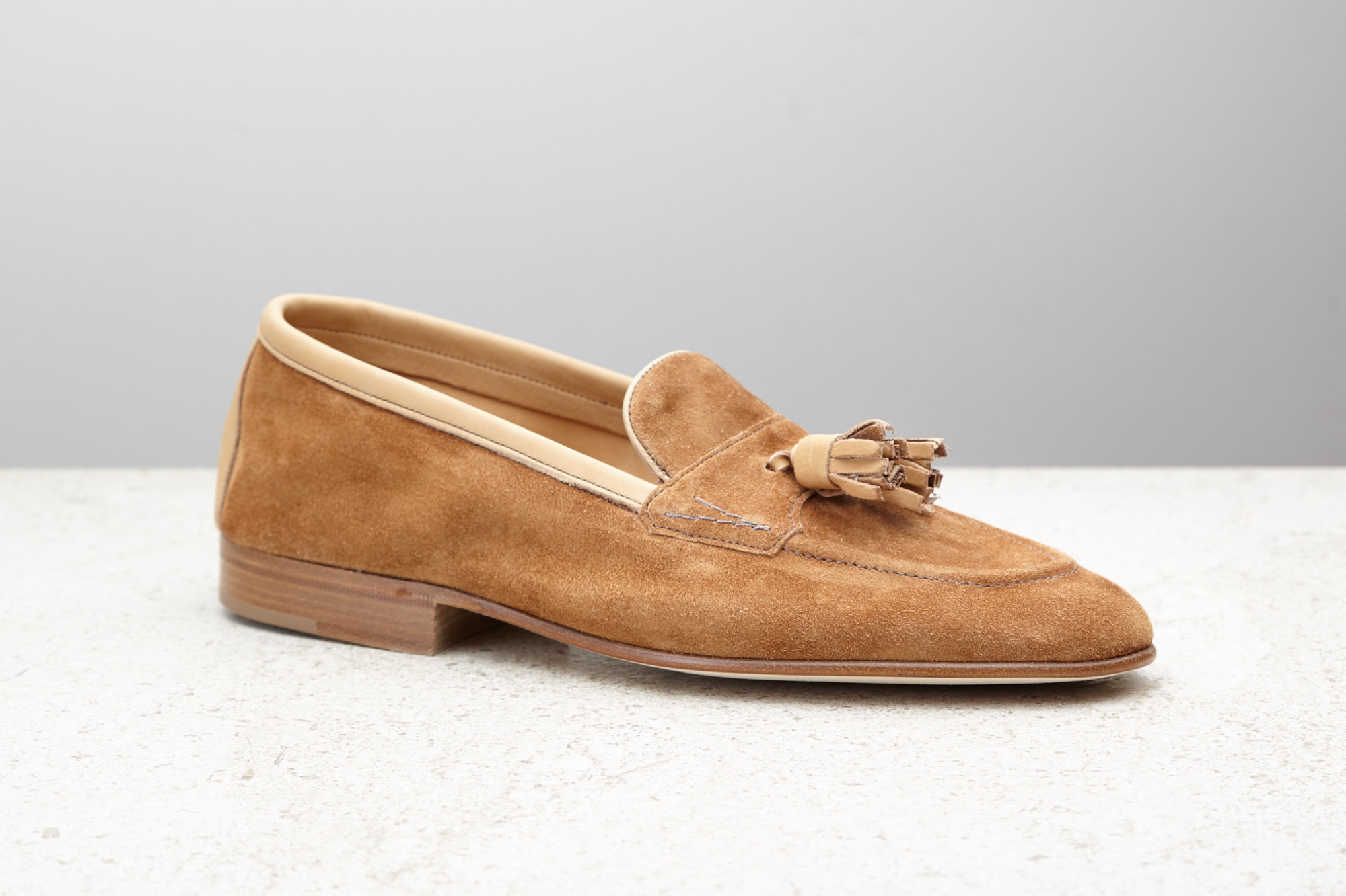 Edward Green Portland loafers in mace baby calf suede