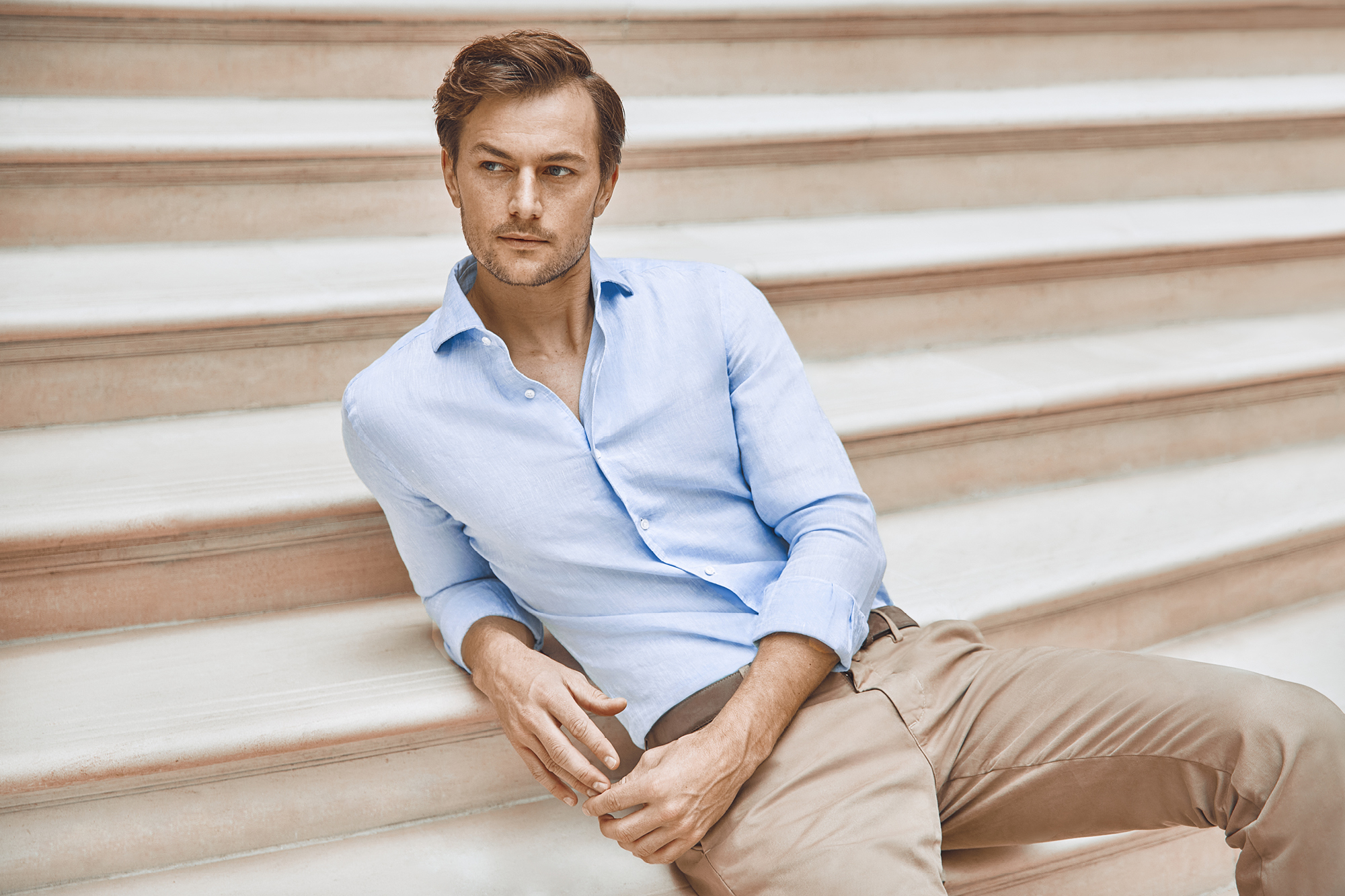 Luca Faloni Portofino linen shirt in sky blue, £140