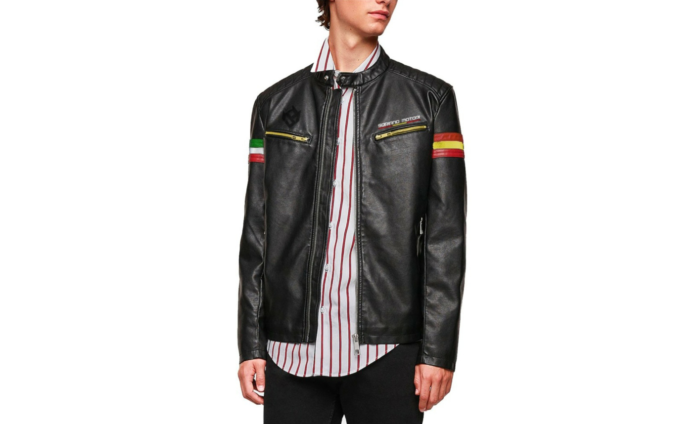 Soriano has also launched a collection of sleek clothing and helmets, including this leather jacket