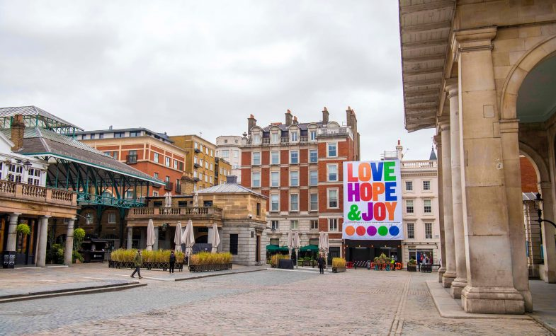 Love, Hope & Joy is Anthony Burrill's love note to London and the world