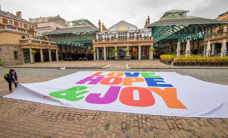 Love, Hope & Joy was installed in Covent Garden Piazza at the end of June