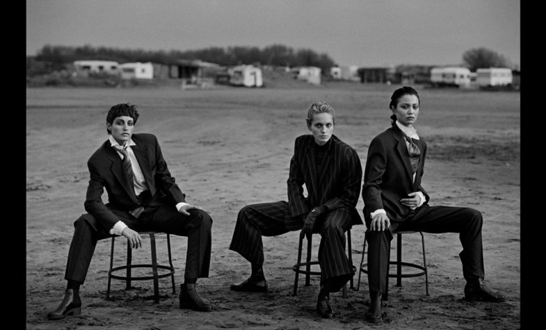Alexandra Carlsson, Beri Smither, Harue Miyamoto Beauduc 1993 Photo by Peter Lindbergh Emporio Armani Magazine 10