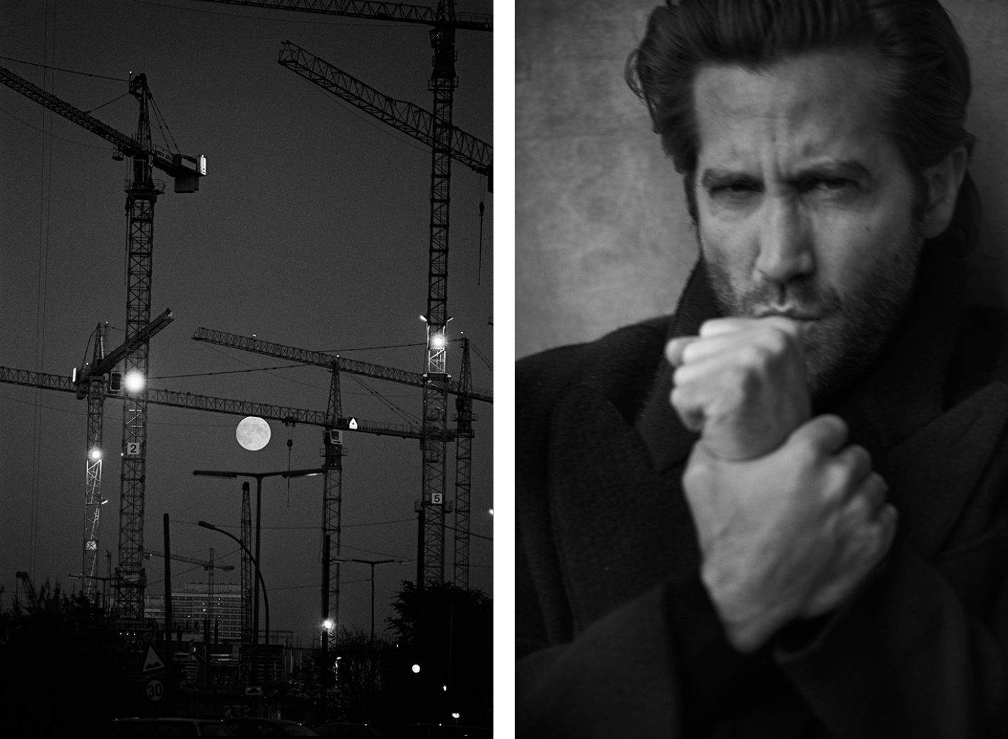 Left, Berlin, 1996 ∏ Peter Lindbergh. Right, Jake Gyllenhaal, New York, 2019 ∏ Peter Lindbergh