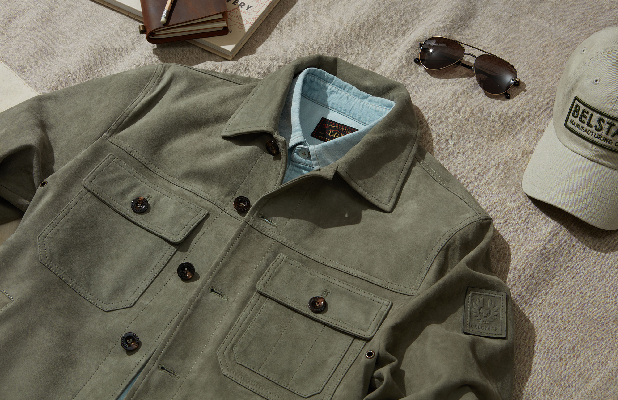 The Belstaff Recruit overshirt in featherweight suede is a key item in the Belstaff Summer Exclusive collection