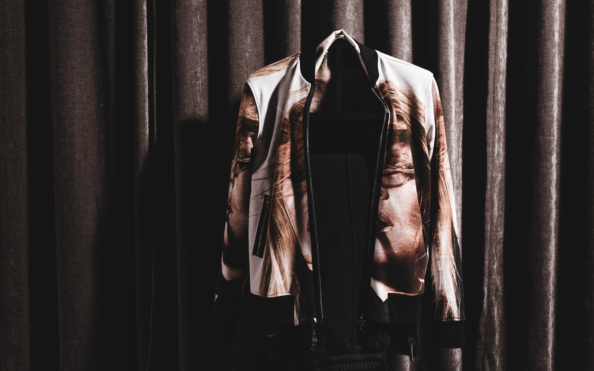 Limitato makes wearable art such as this bomber with Terry O'Neill photograph print