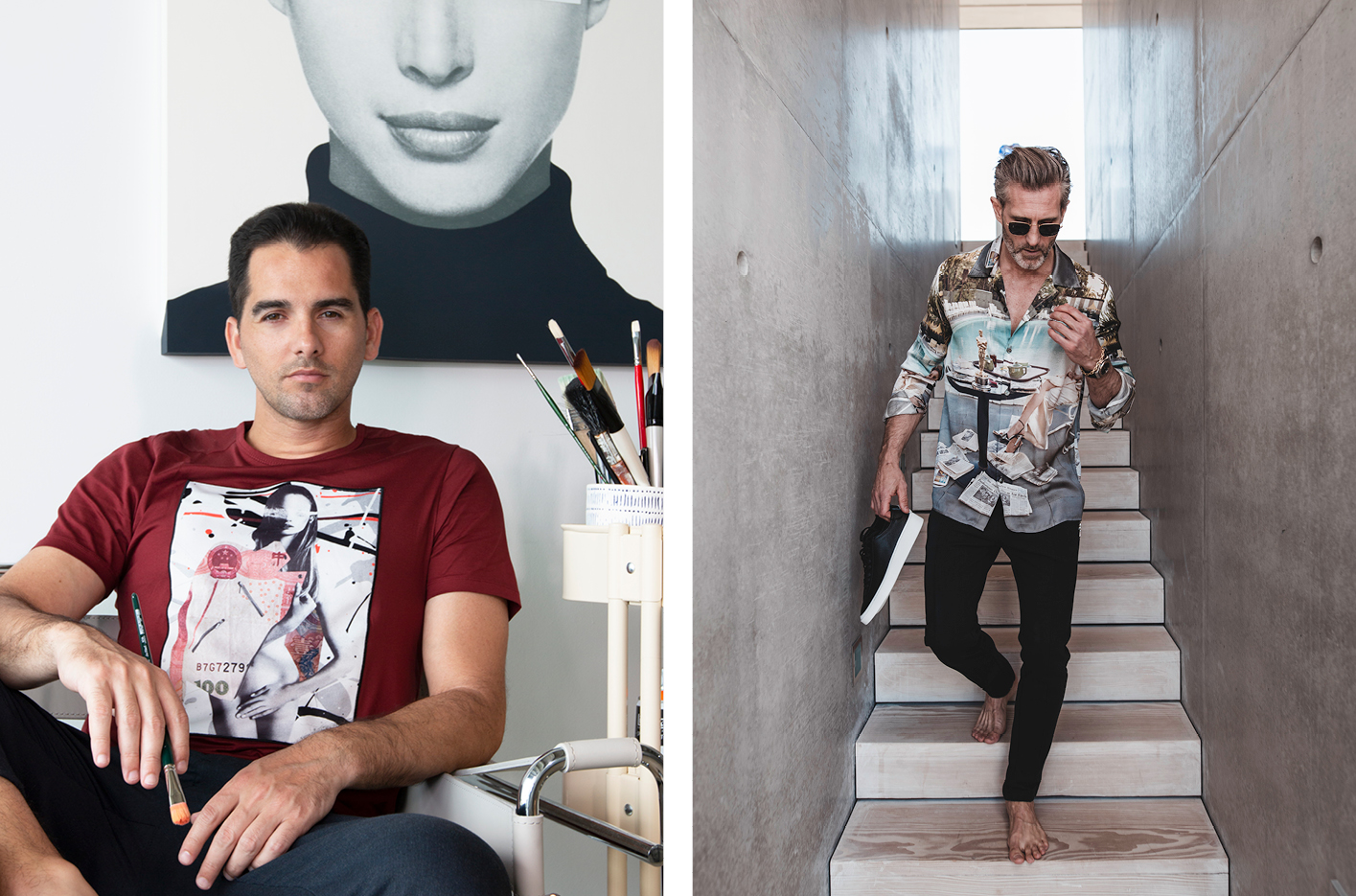 Left, Javiar Martin wearing one of the t-shirts he has produces with Limitato. Right, a Limitato Terry O'Neill shirt featuring the photograph of Faye Dunaway taken the morning after she won an Oscar for her performance in Network