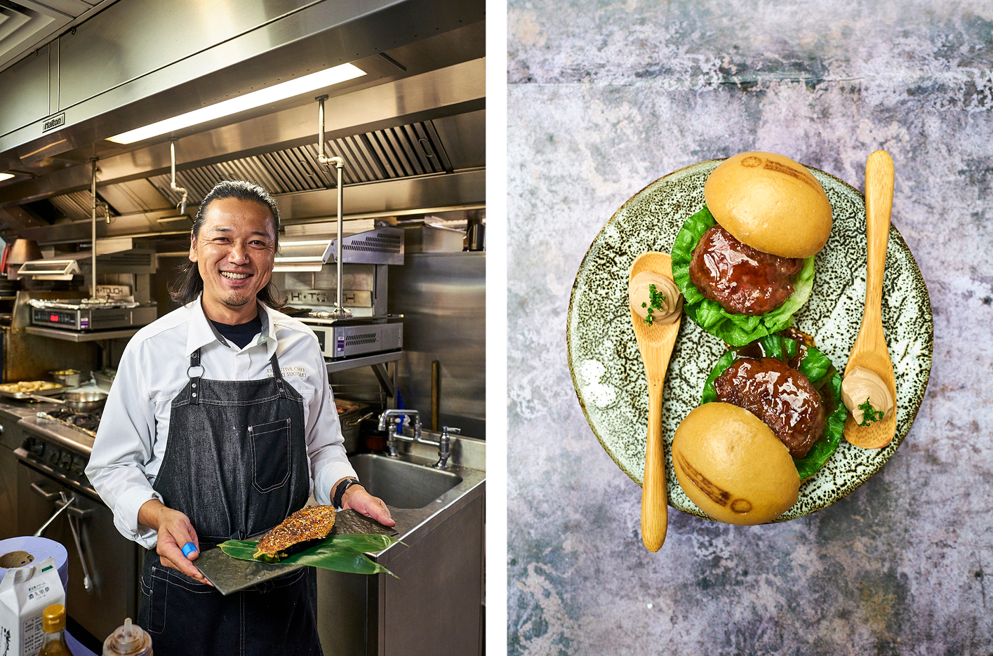 Chef Masaki Sugisaki in the kitchen at Dinings SW3 and, right, a Dinings slider