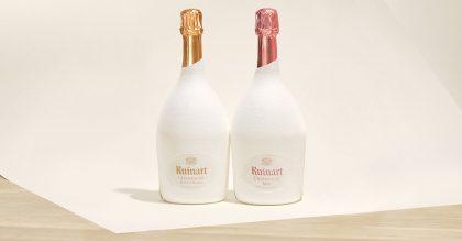 Ruinart Blanc de Blanc and Rosé in the innovative second skin case