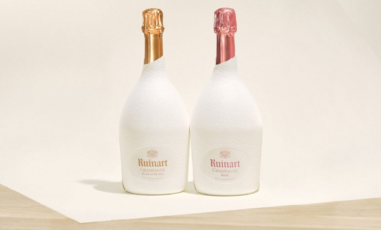 Ruinart Blanc de Blanc and Rosé in the innovative second skin case