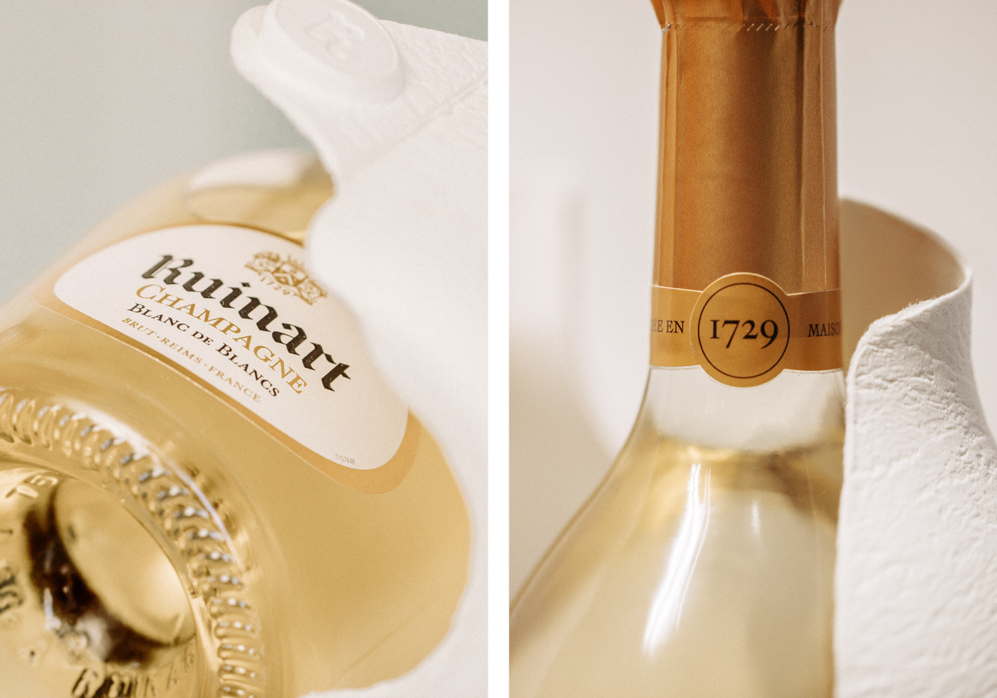 Ruinart's second skin hugs the contours of each champagne bottle
