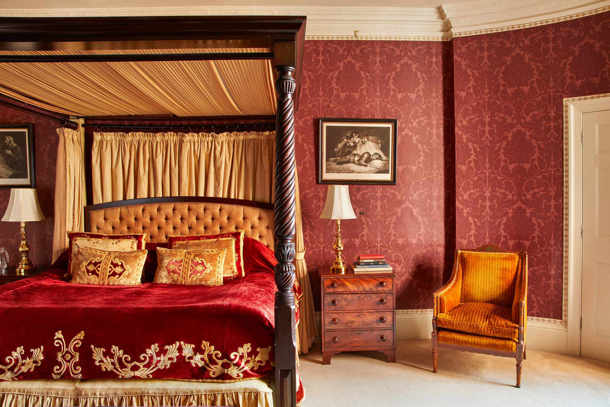 The ornate Drury Lowe Feature Room is one of the tempting bedrooms at Home House