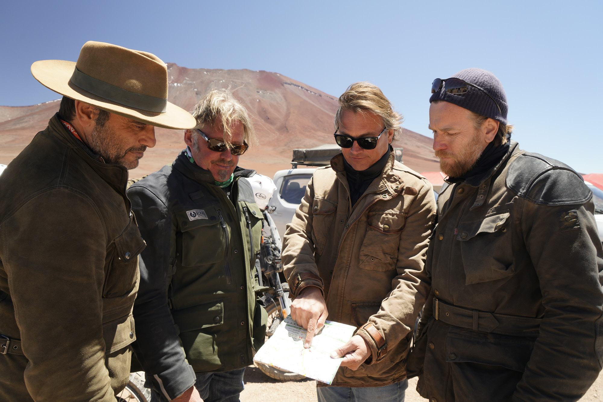 Ewan McGregor and Charley Boorman on the road in The Long Way Up