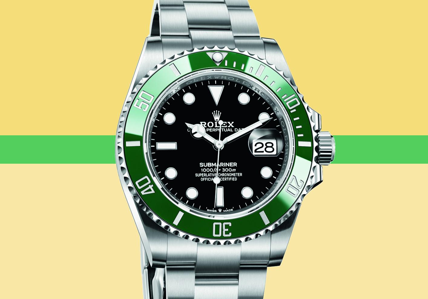 Submariner with green bezel, £7,650 (Submariner range, from £6,450; Submariner Date range, from £7,300)