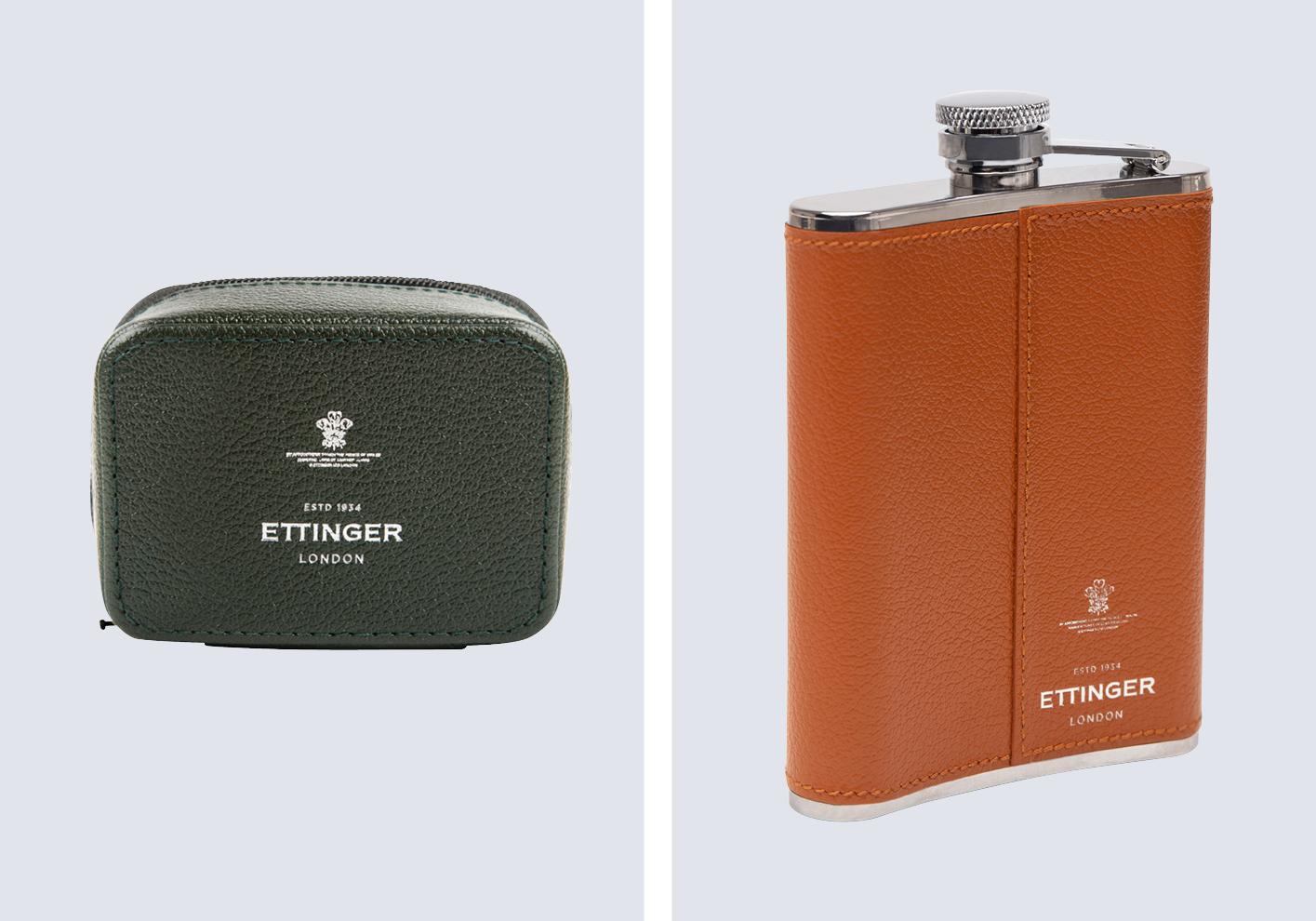Ettinger Capra goat leather zipped case and 6oz hip flasks