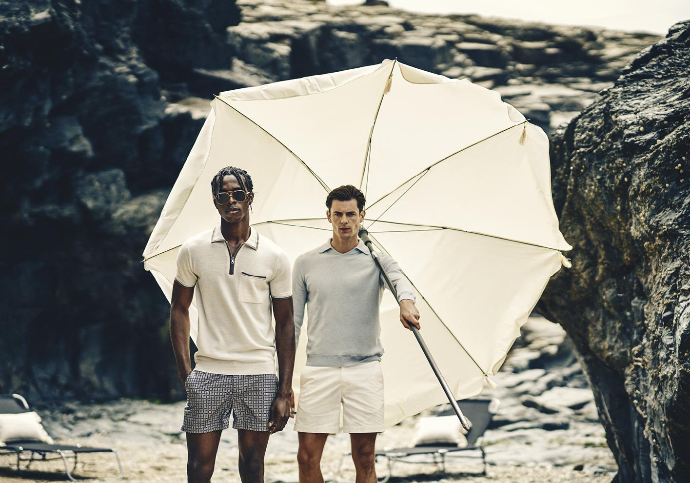 Haden Polo Shirt, Settee x Maravilla shorts; Hedley cashmere jumper, Bulldog cotton shorts